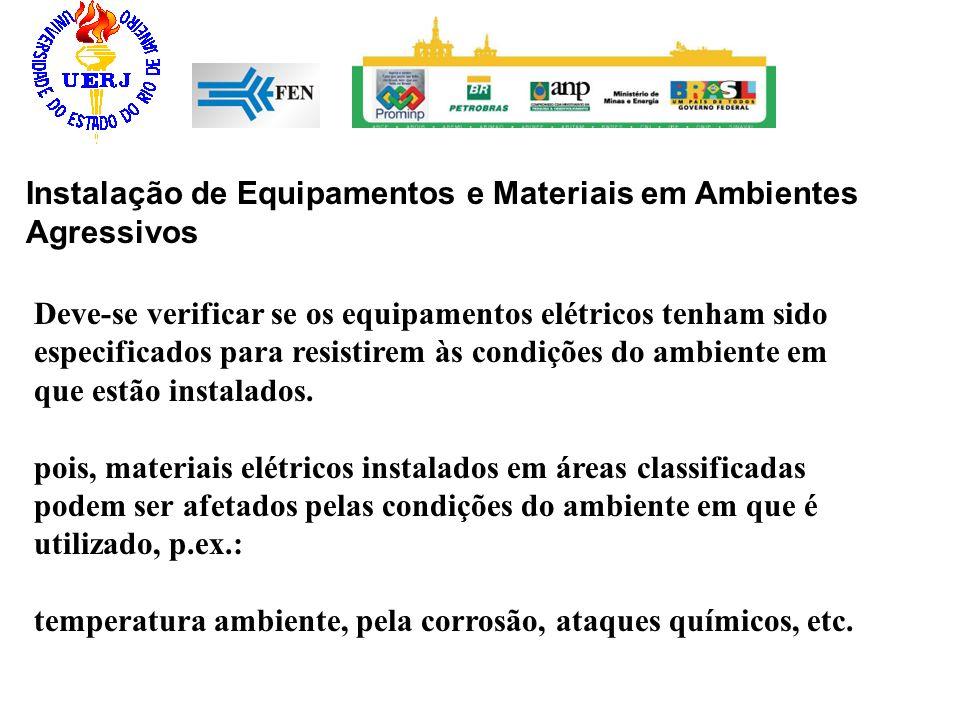 Instalação de Equipamentos e Materiais em Ambientes Agressivos Deve-se verificar se os equipamentos elétricos tenham sido especificados para resistire