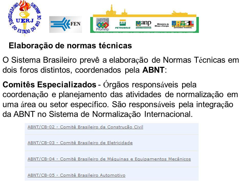 Elaboração de normas técnicas O Sistema Brasileiro prevê a elabora ç ão de Normas T é cnicas em dois foros distintos, coordenados pela ABNT: Comitês E