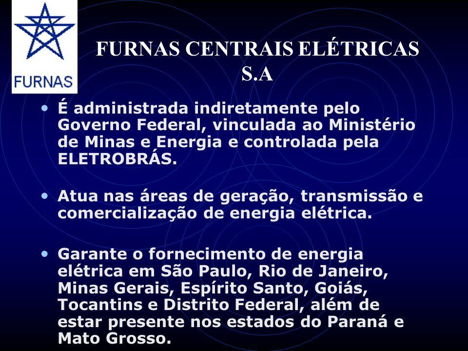 FURNAS CENTRAIS ELÉTRICAS S.A É administrada indiretamente pelo Governo Federal, vinculada ao Ministério de Minas e Energia e controlada pela ELETROBR