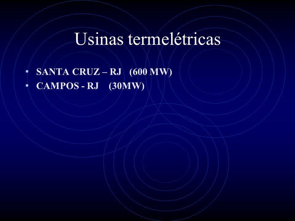 Usinas termelétricas SANTA CRUZ – RJ (600 MW) CAMPOS - RJ (30MW)