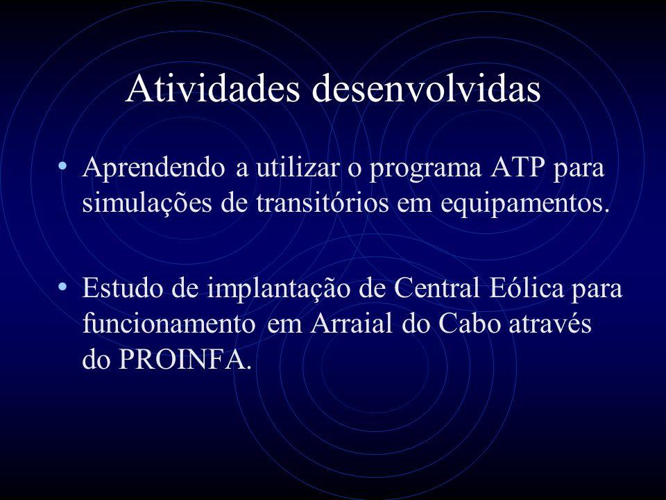 Atividades desenvolvidas Aprendendo a utilizar o programa ATP para simulações de transitórios em equipamentos. Estudo de implantação de Central Eólica