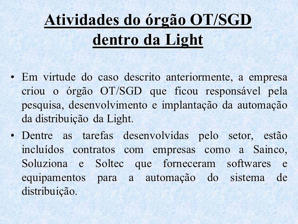 Atividades do órgão OT/SGD dentro da Light Em virtude do caso descrito anteriormente, a empresa criou o órgão OT/SGD que ficou responsável pela pesqui