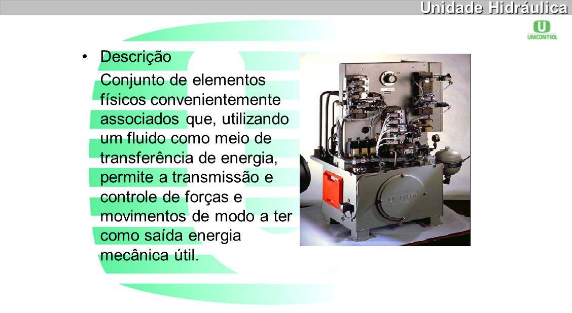 Unidade Hidráulica Descrição Conjunto de elementos físicos convenientemente associados que, utilizando um fluido como meio de transferência de energia