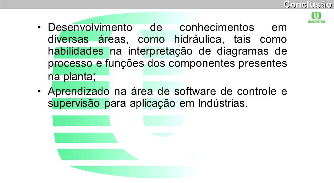 Conclusão Desenvolvimento de conhecimentos em diversas áreas, como hidráulica, tais como habilidades na interpretação de diagramas de processo e funçõ