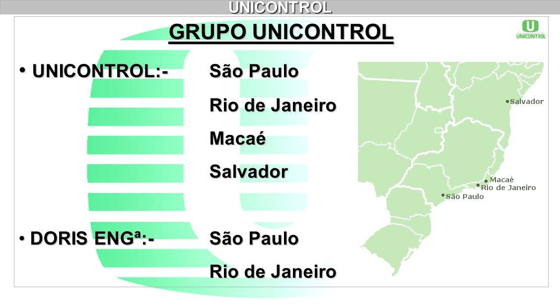 UNICONTROL GRUPO UNICONTROL UNICONTROL:- São Paulo UNICONTROL:- São Paulo Rio de Janeiro MacaéSalvador DORIS ENGª:- São Paulo DORIS ENGª:- São Paulo R