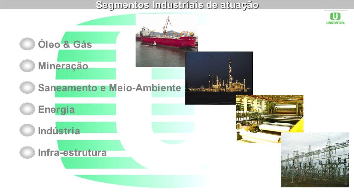 Óleo & Gás Mineração Saneamento e Meio-Ambiente Energia Indústria Infra-estrutura Segmentos Industriais de atuação