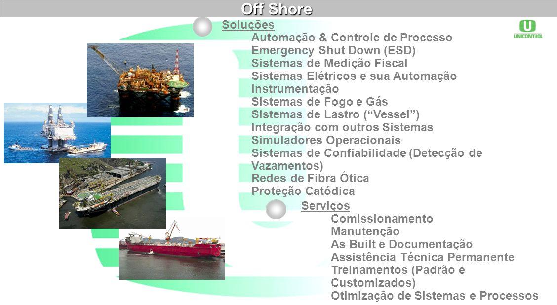 Off Shore Soluções Automação & Controle de Processo Emergency Shut Down (ESD) Sistemas de Medição Fiscal Sistemas Elétricos e sua Automação Instrument