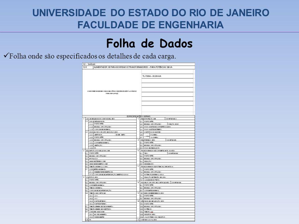 Folha de Dados Folha onde são especificados os detalhes de cada carga. UNIVERSIDADE DO ESTADO DO RIO DE JANEIRO FACULDADE DE ENGENHARIA