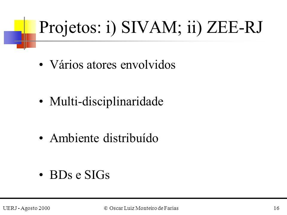 UERJ - Agosto 2000© Oscar Luiz Monteiro de Farias16 Projetos: i) SIVAM; ii) ZEE-RJ Vários atores envolvidos Multi-disciplinaridade Ambiente distribuído BDs e SIGs