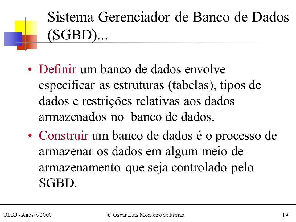 UERJ - Agosto 2000© Oscar Luiz Monteiro de Farias19 Sistema Gerenciador de Banco de Dados (SGBD)...