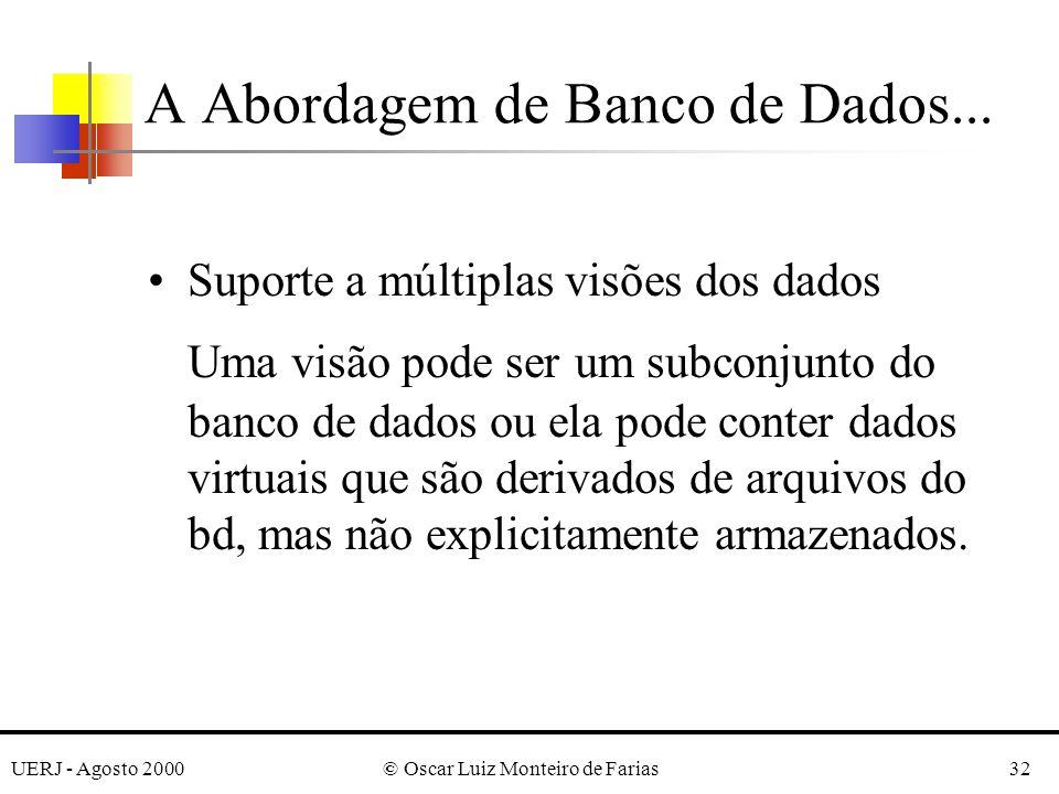 UERJ - Agosto 2000© Oscar Luiz Monteiro de Farias32 Suporte a múltiplas visões dos dados Uma visão pode ser um subconjunto do banco de dados ou ela pode conter dados virtuais que são derivados de arquivos do bd, mas não explicitamente armazenados.