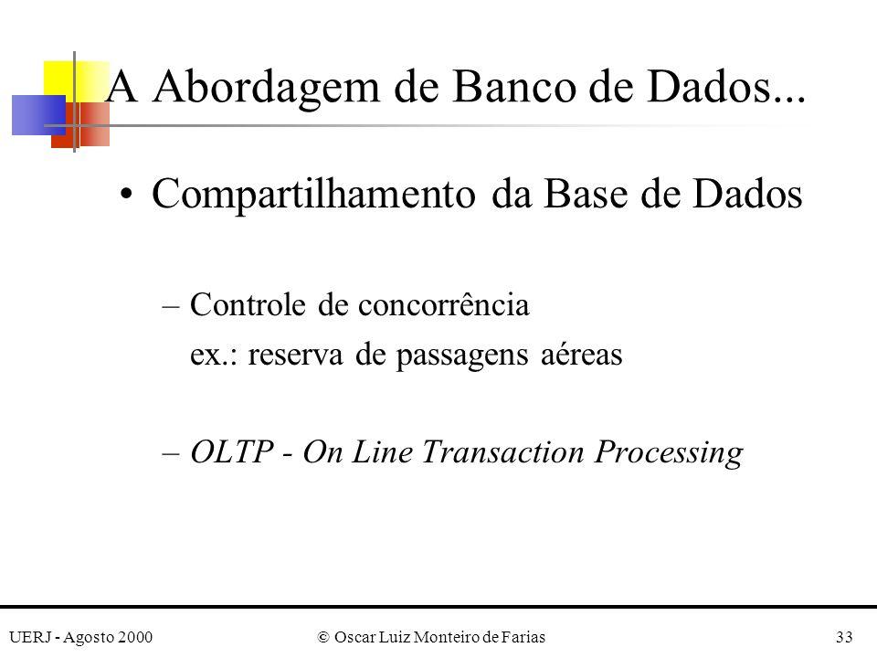 UERJ - Agosto 2000© Oscar Luiz Monteiro de Farias33 Compartilhamento da Base de Dados –Controle de concorrência ex.: reserva de passagens aéreas –OLTP - On Line Transaction Processing A Abordagem de Banco de Dados...