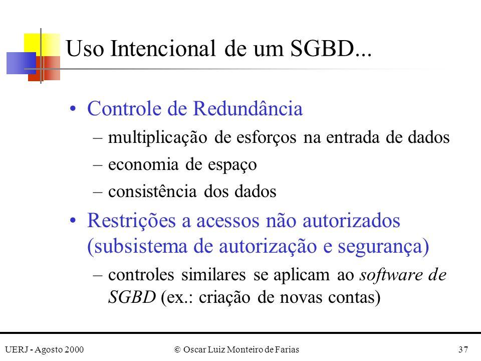 UERJ - Agosto 2000© Oscar Luiz Monteiro de Farias37 Uso Intencional de um SGBD...