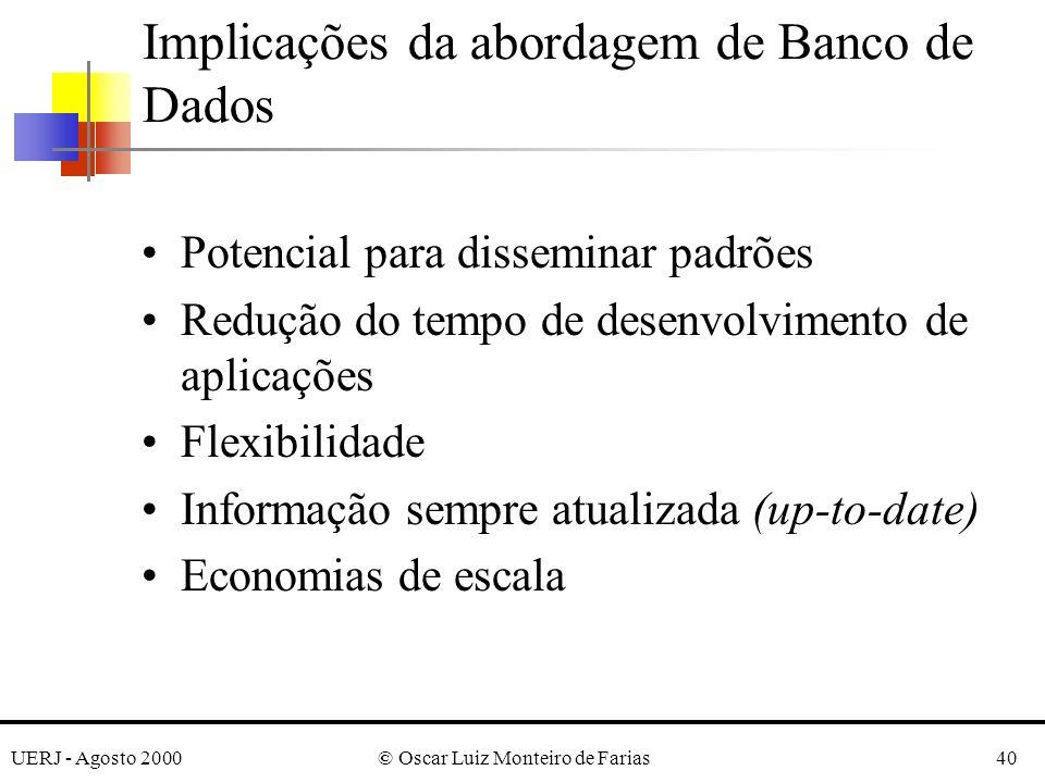 UERJ - Agosto 2000© Oscar Luiz Monteiro de Farias40 Implicações da abordagem de Banco de Dados Potencial para disseminar padrões Redução do tempo de desenvolvimento de aplicações Flexibilidade Informação sempre atualizada (up-to-date) Economias de escala
