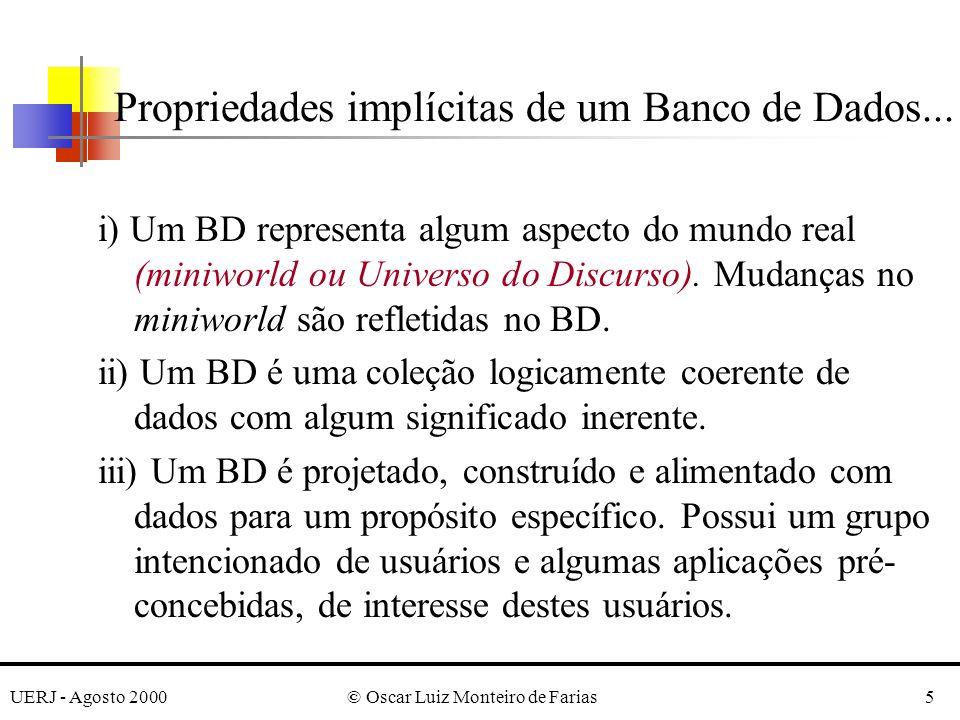 UERJ - Agosto 2000© Oscar Luiz Monteiro de Farias5 Propriedades implícitas de um Banco de Dados...