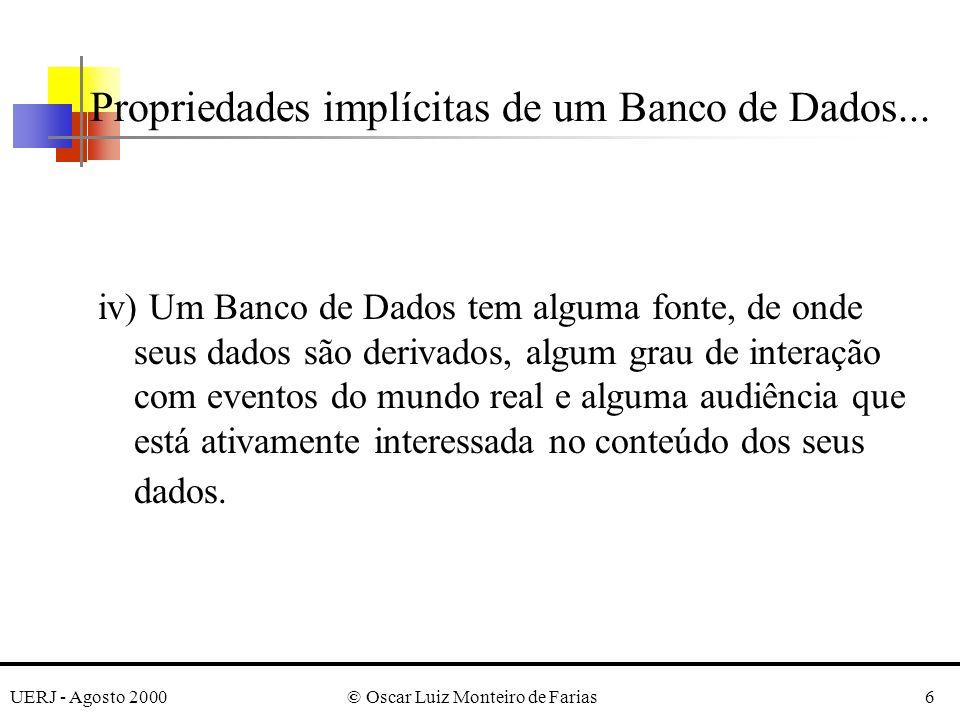 UERJ - Agosto 2000© Oscar Luiz Monteiro de Farias6 Propriedades implícitas de um Banco de Dados...