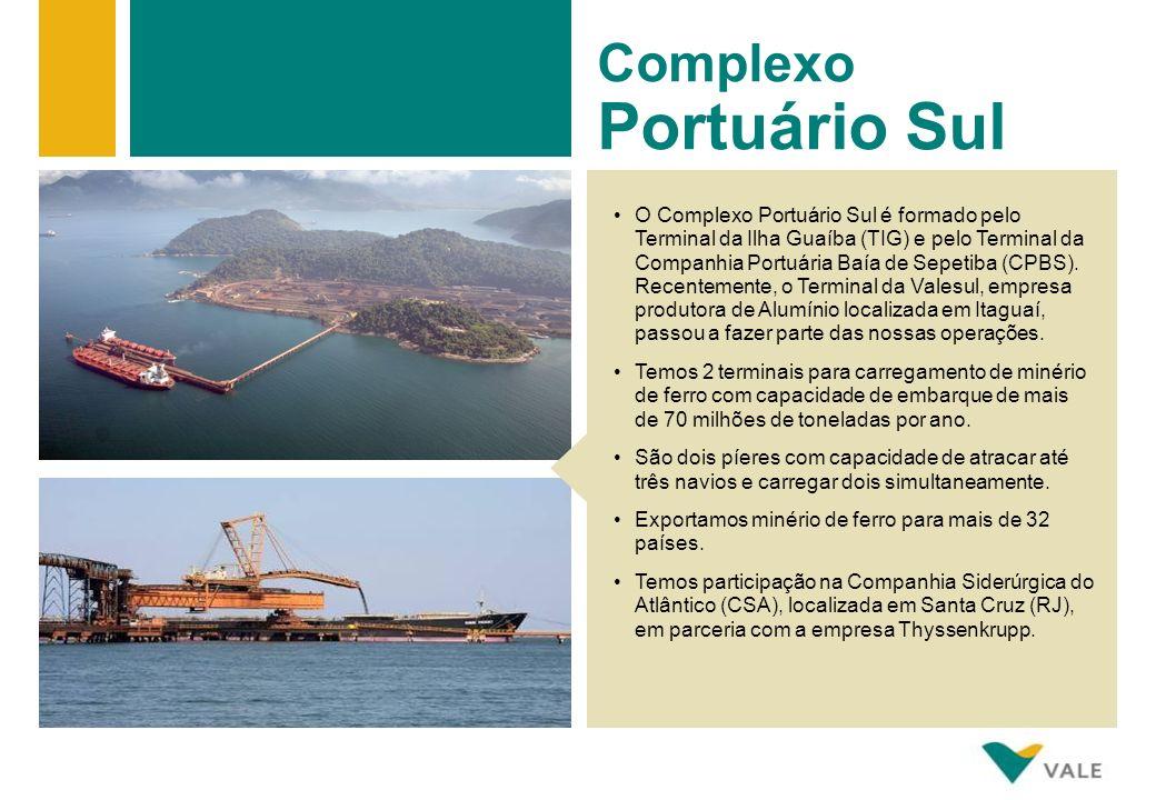 O Complexo Portuário Sul é formado pelo Terminal da Ilha Guaíba (TIG) e pelo Terminal da Companhia Portuária Baía de Sepetiba (CPBS).