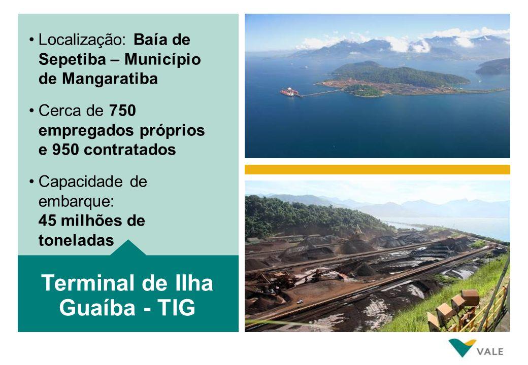 Localização: Baía de Sepetiba – Município de Mangaratiba Cerca de 750 empregados próprios e 950 contratados Capacidade de embarque: 45 milhões de toneladas Terminal de Ilha Guaíba - TIG