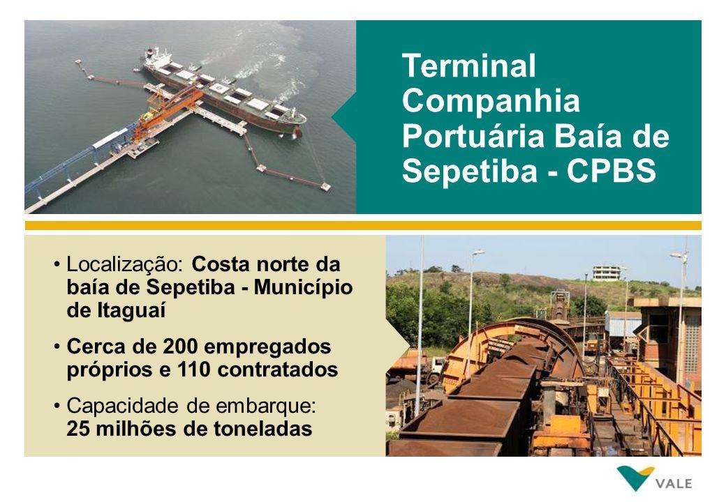 Terminal Companhia Portuária Baía de Sepetiba - CPBS Localização: Costa norte da baía de Sepetiba - Município de Itaguaí Cerca de 200 empregados próprios e 110 contratados Capacidade de embarque: 25 milhões de toneladas