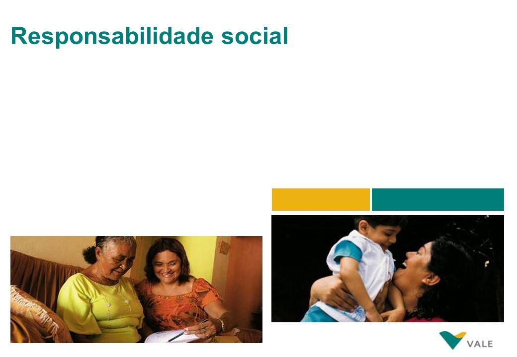 Responsabilidade social Através da Fundação Vale, dedicamos tempo, energia e recursos financeiros para suportar um futuro socioeconômico e ambiental m