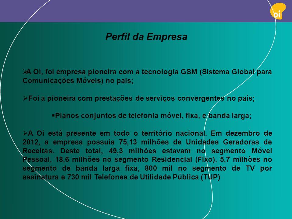 PAG 3 Perfil da Empresa A Oi, foi empresa pioneira com a tecnologia GSM (Sistema Global para Comunicações Móveis) no pais; Foi a pioneira com prestaçõ