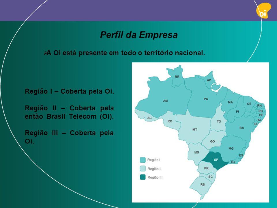 PAG 4 A Oi está presente em todo o território nacional. Perfil da Empresa Região I – Coberta pela Oi. Região II – Coberta pela então Brasil Telecom (O