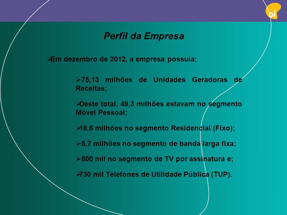 PAG 5 Em dezembro de 2012, a empresa possuía: 75,13 milhões de Unidades Geradoras de Receitas; Deste total, 49,3 milhões estavam no segmento Móvel Pes