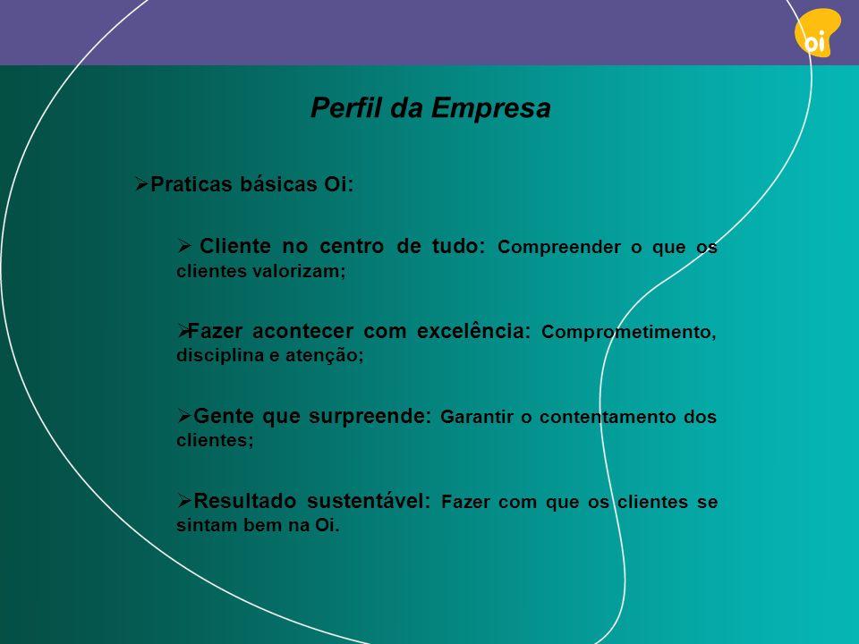 PAG 6 Perfil da Empresa Praticas básicas Oi: Cliente no centro de tudo: Compreender o que os clientes valorizam; Fazer acontecer com excelência: Compr