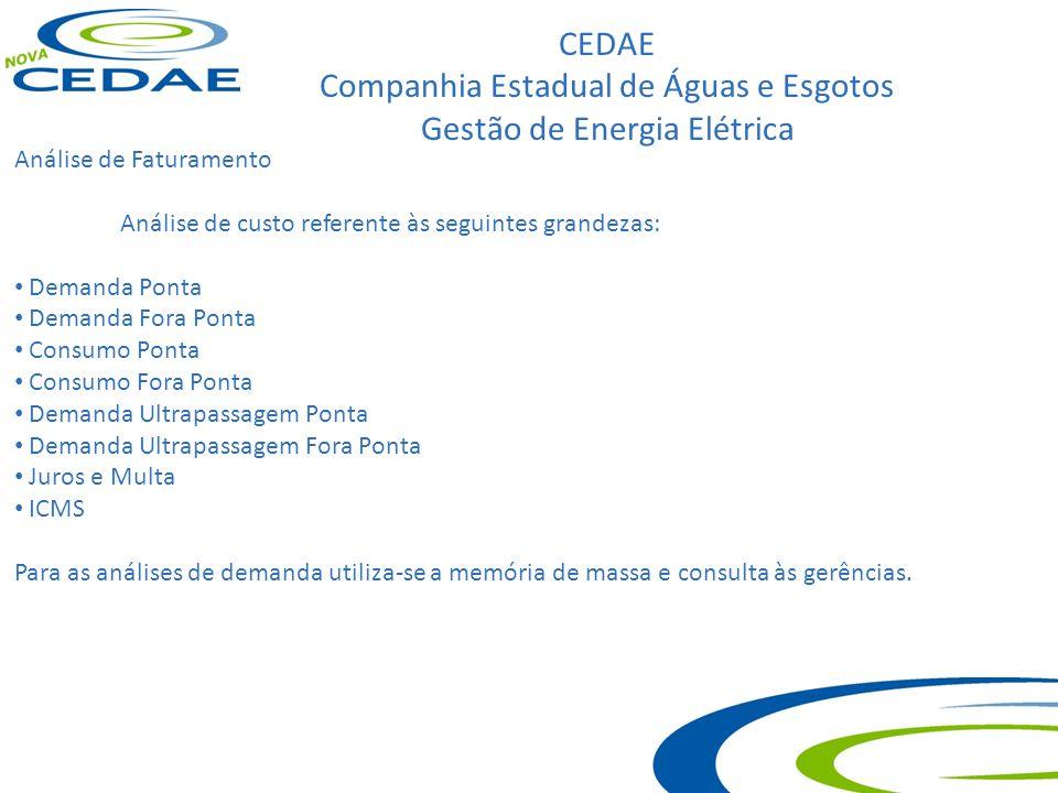CEDAE Companhia Estadual de Águas e Esgotos Gestão de Energia Elétrica Análise de Faturamento Análise de custo referente às seguintes grandezas: Deman
