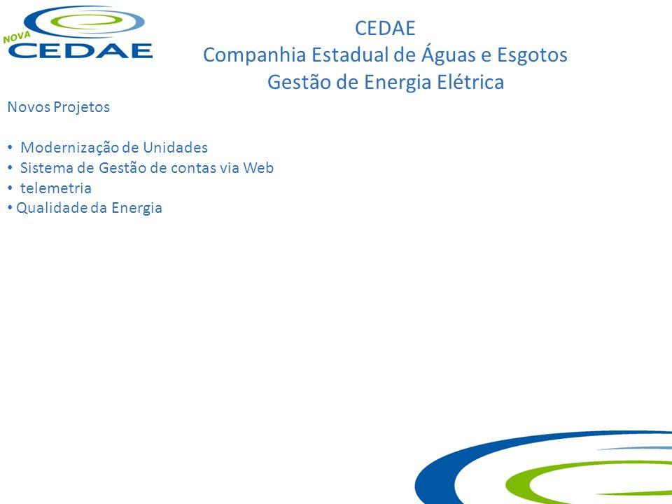 CEDAE Companhia Estadual de Águas e Esgotos Gestão de Energia Elétrica Novos Projetos Modernização de Unidades Sistema de Gestão de contas via Web tel