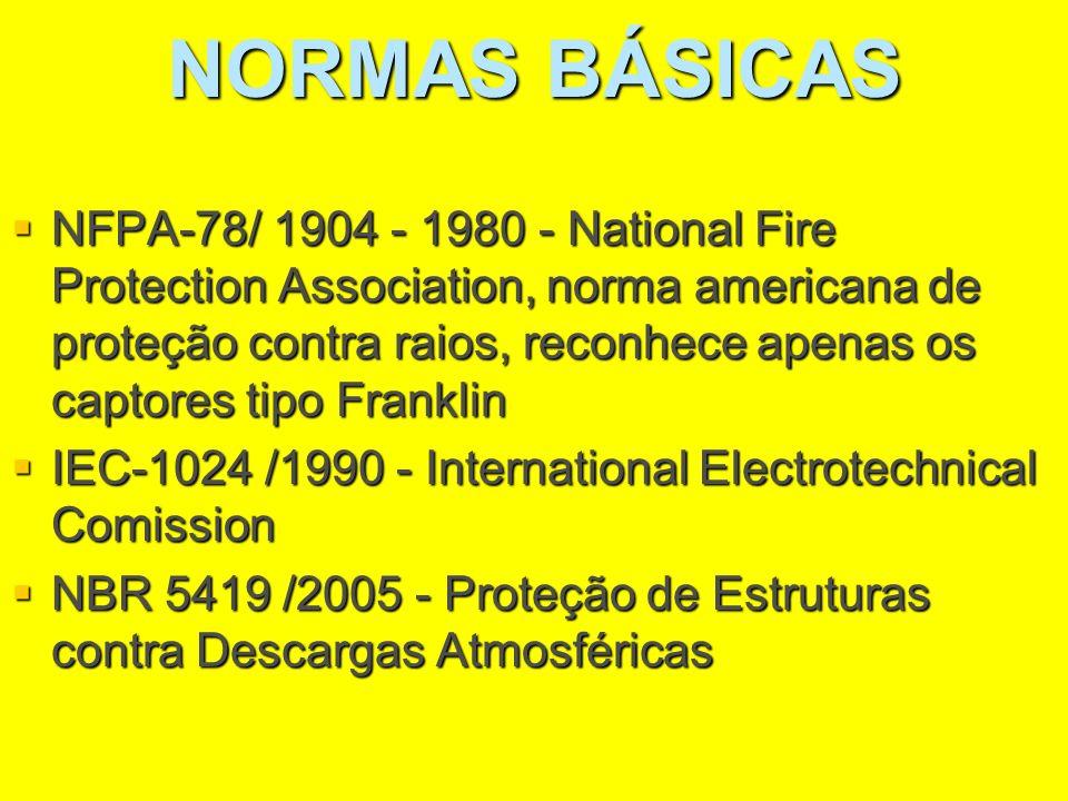 NORMAS BÁSICAS NFPA-78/ 1904 - 1980 - National Fire Protection Association, norma americana de proteção contra raios, reconhece apenas os captores tip