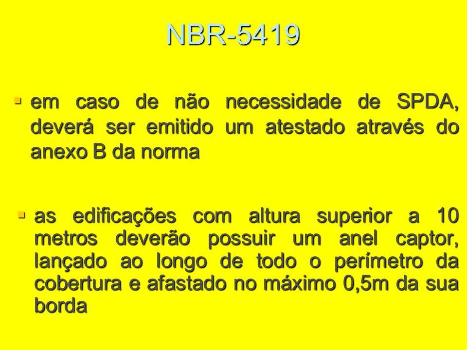 NBR-5419 as edificações com altura superior a 10 metros deverão possuir um anel captor, lançado ao longo de todo o perímetro da cobertura e afastado n