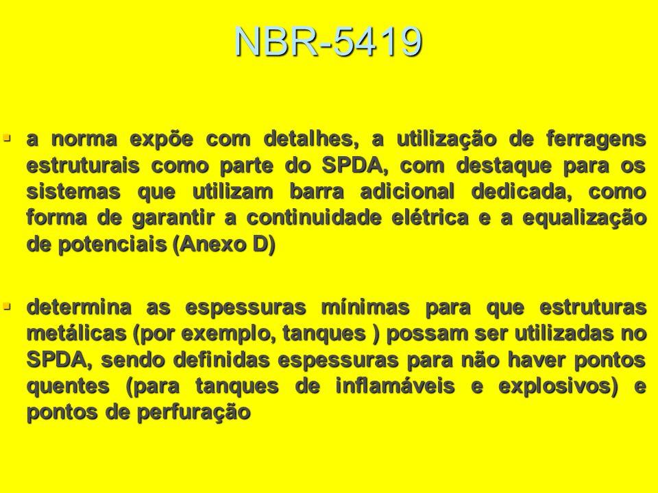 NBR-5419 a norma expõe com detalhes, a utilização de ferragens estruturais como parte do SPDA, com destaque para os sistemas que utilizam barra adicio