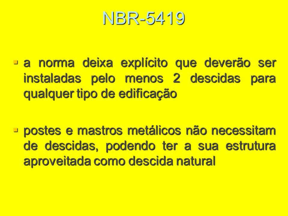 NBR-5419 a norma deixa explícito que deverão ser instaladas pelo menos 2 descidas para qualquer tipo de edificação a norma deixa explícito que deverão