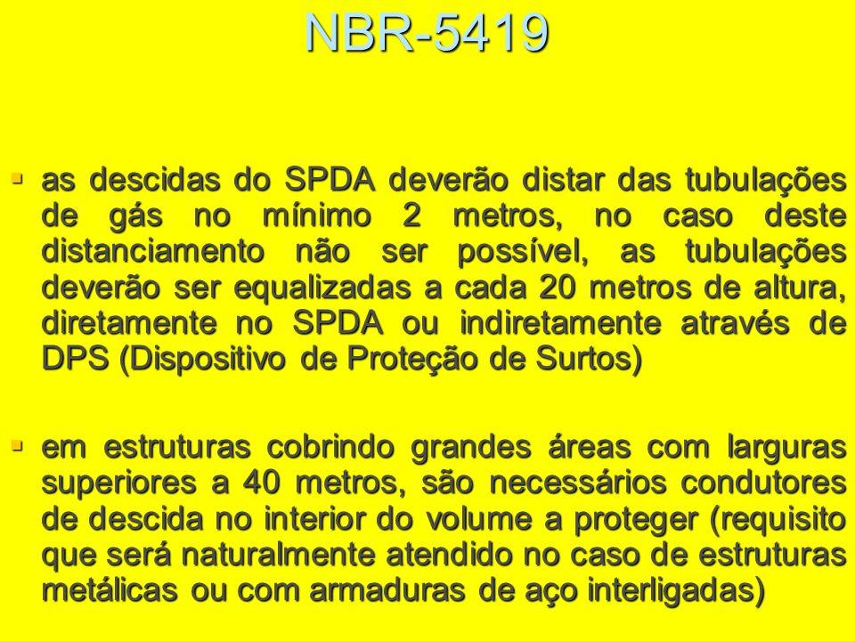 NBR-5419 as descidas do SPDA deverão distar das tubulações de gás no mínimo 2 metros, no caso deste distanciamento não ser possível, as tubulações dev