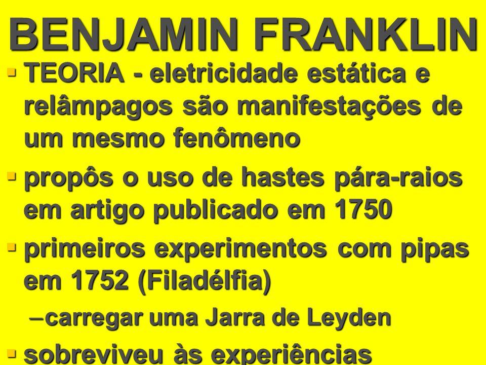 BENJAMIN FRANKLIN TEORIA - eletricidade estática e relâmpagos são manifestações de um mesmo fenômeno TEORIA - eletricidade estática e relâmpagos são m