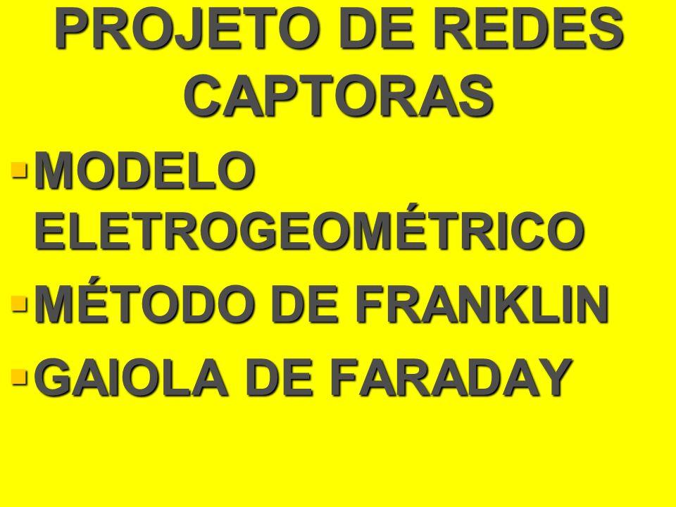 PROJETO DE REDES CAPTORAS MODELO ELETROGEOMÉTRICO MODELO ELETROGEOMÉTRICO MÉTODO DE FRANKLIN MÉTODO DE FRANKLIN GAIOLA DE FARADAY GAIOLA DE FARADAY