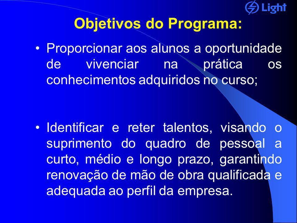 Objetivos do Programa: Proporcionar aos alunos a oportunidade de vivenciar na prática os conhecimentos adquiridos no curso; Identificar e reter talent