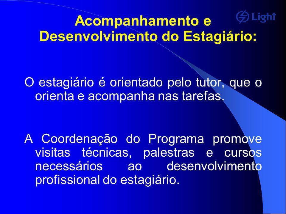 Acompanhamento e Desenvolvimento do Estagiário: O estagiário é orientado pelo tutor, que o orienta e acompanha nas tarefas. A Coordenação do Programa