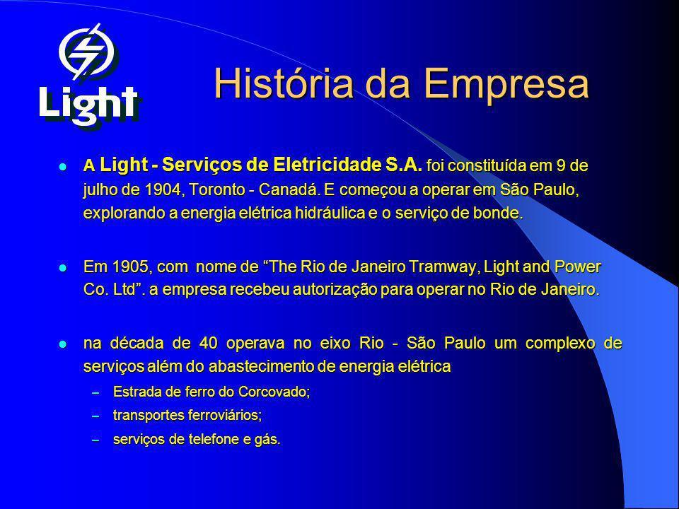 História da Empresa A Light - Serviços de Eletricidade S.A. foi constituída em 9 de julho de 1904, Toronto - Canadá. E começou a operar em São Paulo,