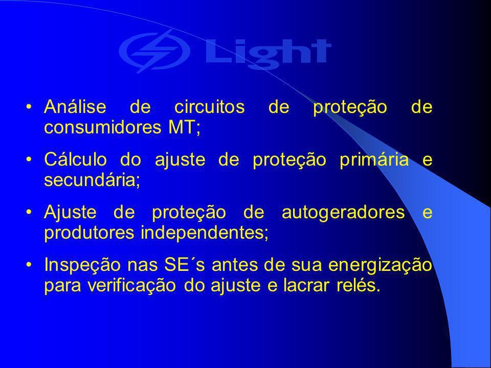 Análise de circuitos de proteção de consumidores MT; Cálculo do ajuste de proteção primária e secundária; Ajuste de proteção de autogeradores e produt