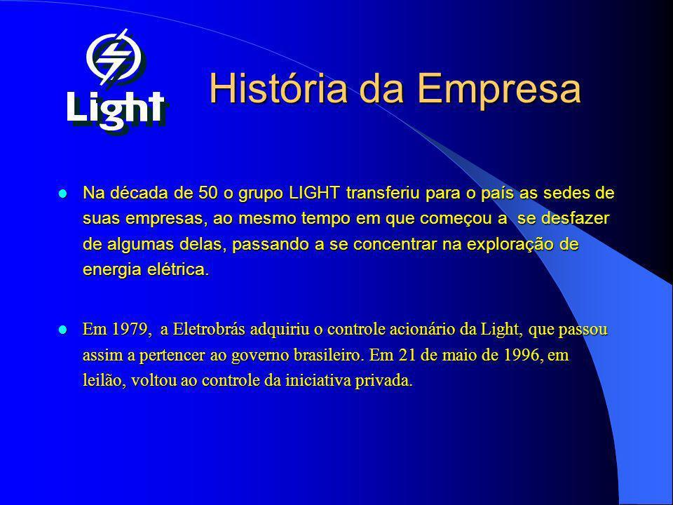 História da Empresa Na década de 50 o grupo LIGHT transferiu para o país as sedes de suas empresas, ao mesmo tempo em que começou a se desfazer de alg