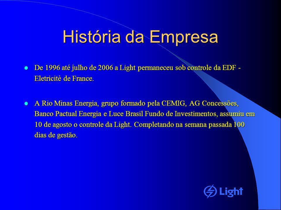 História da Empresa De 1996 até julho de 2006 a Light permaneceu sob controle da EDF - Eletricitè de France. De 1996 até julho de 2006 a Light permane