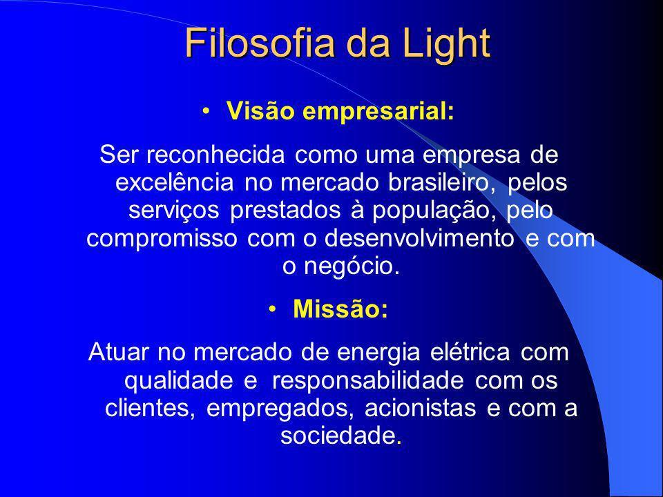 Filosofia da Light Visão empresarial: Ser reconhecida como uma empresa de excelência no mercado brasileiro, pelos serviços prestados à população, pelo
