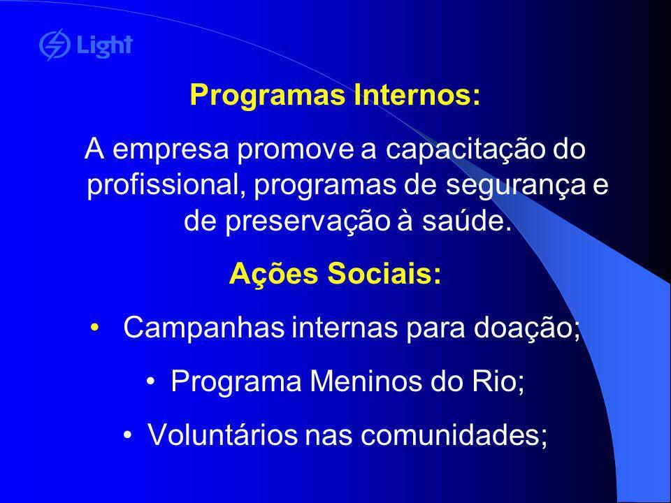 Programas Internos: A empresa promove a capacitação do profissional, programas de segurança e de preservação à saúde. Ações Sociais: Campanhas interna
