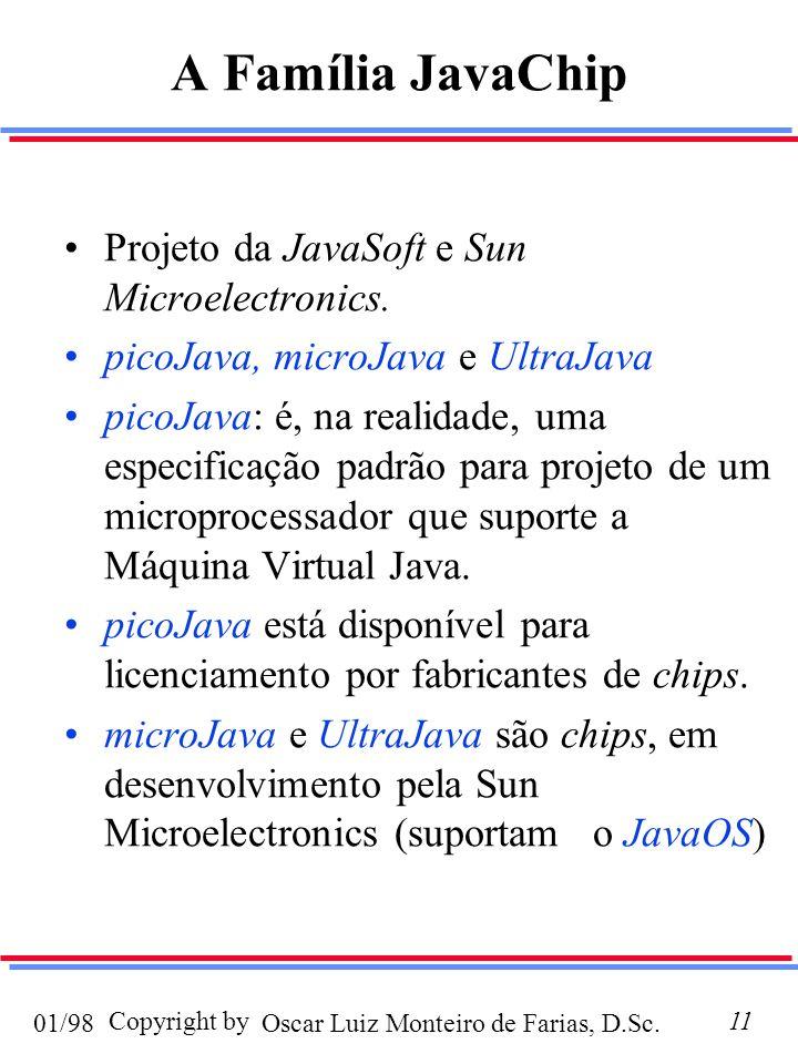 Oscar Luiz Monteiro de Farias, D.Sc.01/98 Copyright by11 A Família JavaChip Projeto da JavaSoft e Sun Microelectronics.
