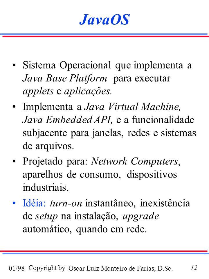 Oscar Luiz Monteiro de Farias, D.Sc.01/98 Copyright by12 JavaOS Sistema Operacional que implementa a Java Base Platform para executar applets e aplicações.