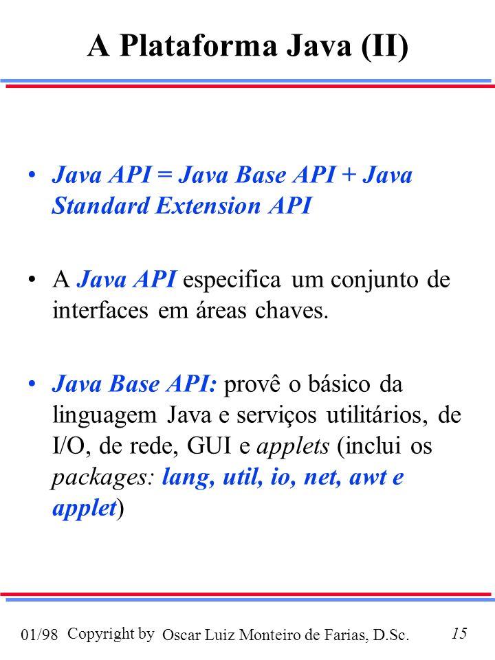 Oscar Luiz Monteiro de Farias, D.Sc.01/98 Copyright by15 A Plataforma Java (II) Java API = Java Base API + Java Standard Extension API A Java API especifica um conjunto de interfaces em áreas chaves.