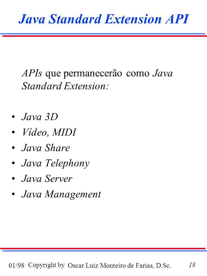 Oscar Luiz Monteiro de Farias, D.Sc.01/98 Copyright by18 Java Standard Extension API APIs que permanecerão como Java Standard Extension: Java 3D Vídeo, MIDI Java Share Java Telephony Java Server Java Management