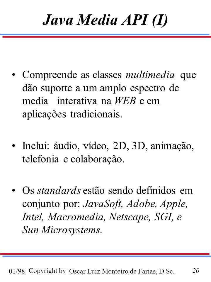 Oscar Luiz Monteiro de Farias, D.Sc.01/98 Copyright by20 Java Media API (I) Compreende as classes multimedia que dão suporte a um amplo espectro de media interativa na WEB e em aplicações tradicionais.